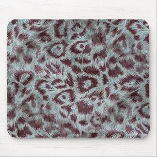 Exotic Furry Leopard Spots Dusty Blue Aubergine Mouse Pad