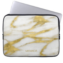 Exotic Gold and White Marble Abstract Pattern Laptop Sleeve