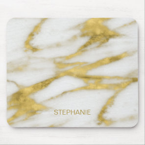 Exotic Gold and White Marble Abstract with Monogra Mouse Pad