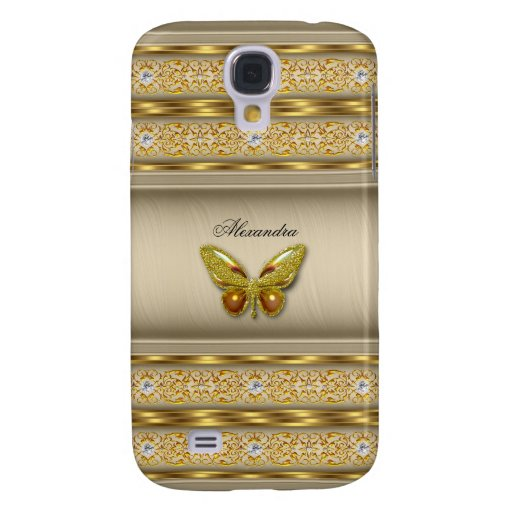 Exotic Gold Caramel Beige Butterfly Diamond 3 Samsung Galaxy S4 Cover