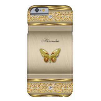Exotic Gold Caramel Beige Butterfly Diamond 3 Barely There iPhone 6 Case