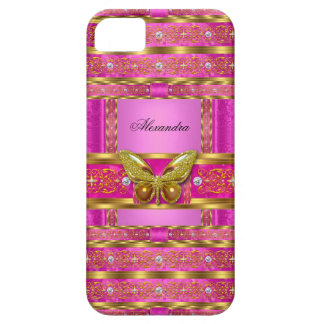 Exotic Gold Hot Pink Butterfly Diamond iPhone SE/5/5s Case