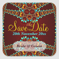 Exotic Gold Jewels Save the Date Sticker