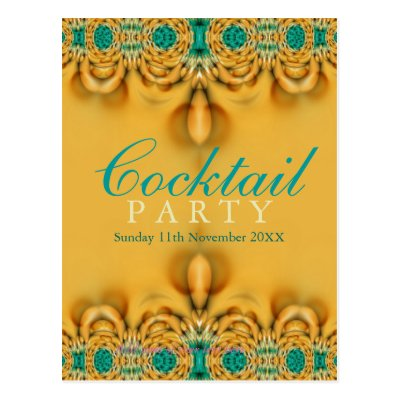 Exotic Gold & Teal Party Invitation Postcard
