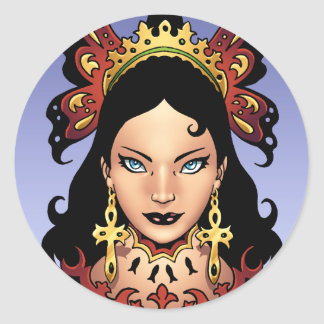Exotic Gothic Queen with Ankh Earrings by Al Rio Classic Round Sticker