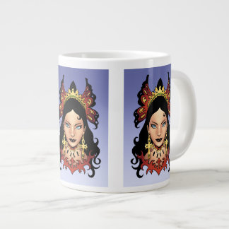 Exotic Gothic Queen with Ankh Earrings by Al Rio Large Coffee Mug