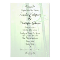 Exotic Green Bamboo Wedding Invitation
