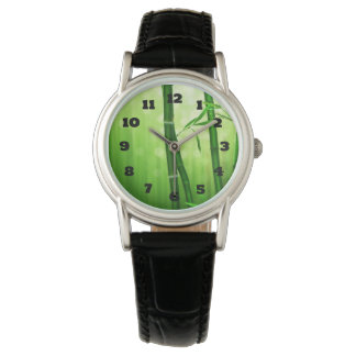 Exotic Green Bamboo With Shiny Bokeh Lights Wristwatch