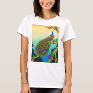 Exotic Green Peacock Ladies Babydoll T-Shirt