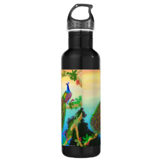 Exotic Green Peacock Liberty Bottle 24oz Water Bottle