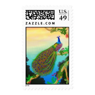 Exotic Green Peacock Stamp