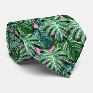 Exotic Green Tropical Leaves Pattern Neck Tie