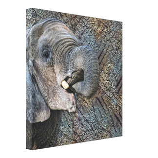 Exotic Grey Elephant Leather Camouflage Animal Canvas Print