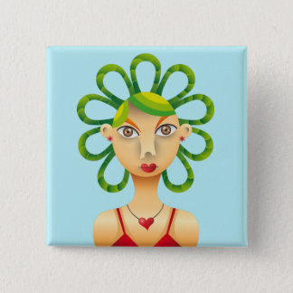Exotic hairdo pinback button