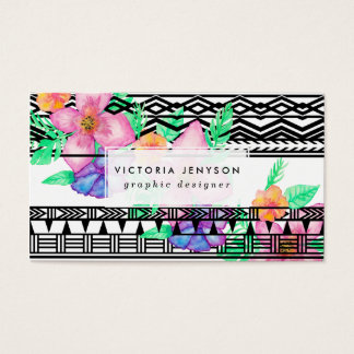 Exotic hawaiian floral watercolor black aztec business card