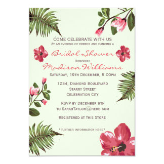 Exotic Hibiscus & Tropical Leaves Bridal Shower 5x7 Paper Invitation Card