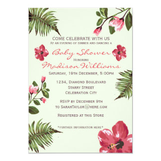 Exotic Hibiscus & Tropical Palm Leaves Baby Shower 5x7 Paper Invitation Card