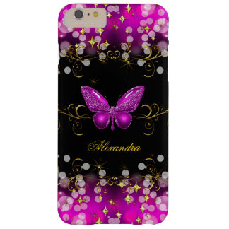 Exotic Hot Pink Gold Black Butterfly Sparkles Barely There iPhone 6 Plus Case