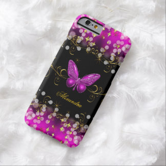 Exotic Hot Pink Gold Black Butterfly Sparkles Barely There iPhone 6 Case