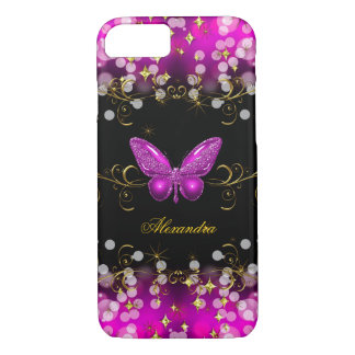 Exotic Hot Pink Gold Black Butterfly Sparkles iPhone 7 Case