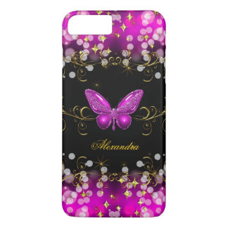 Exotic Hot Pink Gold Black Butterfly Sparkles iPhone 8 Plus/7 Plus Case