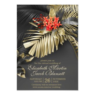 Virtual Black and Gold Wedding Invitations, Exotic Indian Jasmine Tropical