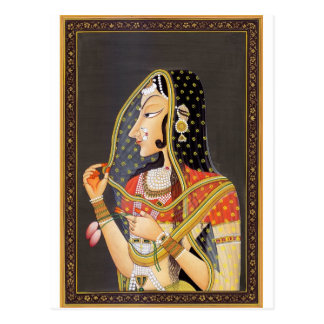 EXOTIC INDIAN PRINCESS VINTAGE PAINTING POSTCARD