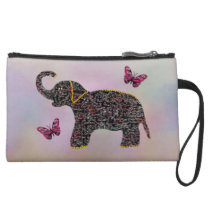 Exotic Jewel Elephant Suede Mini Clutch