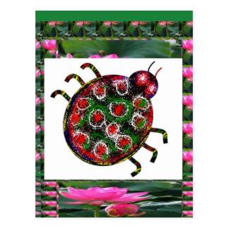 EXOTIC Ladybug Graphic Art Postcard