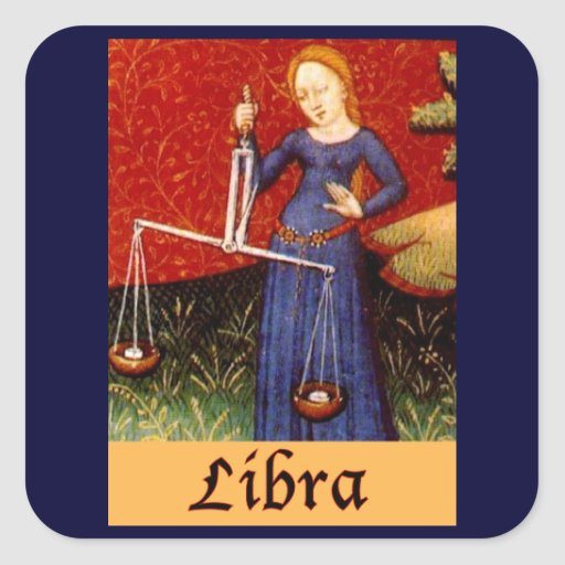 Exotic Libra Zodiac Sign Square Sticker
