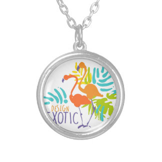 Exotic logo design with flamingo birds silver plated necklace