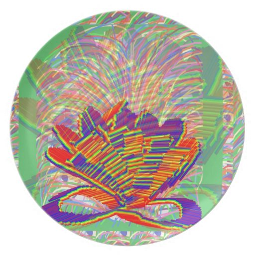 Exotic LOTUS and Grass Bushes on background Plates