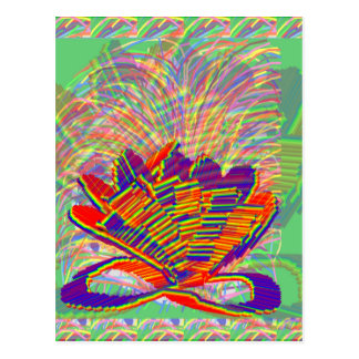 Exotic LOTUS and Grass Bushes on background Postcards