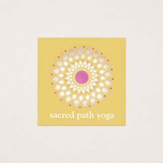 Exotic Lotus Yellow Floral Wellness Therapist Square Business Card