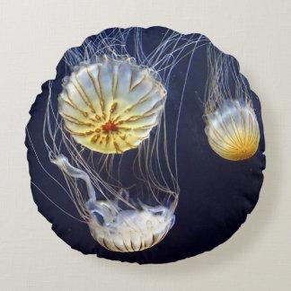 Exotic Marine Salt Water Jellyfish Round Pillow