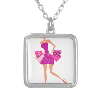 EXOTIC MODEL GIRL Creative t-shirts Silver Plated Necklace