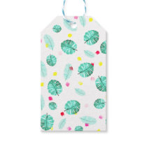 Exotic modern summer green palm tree leaf gift tags