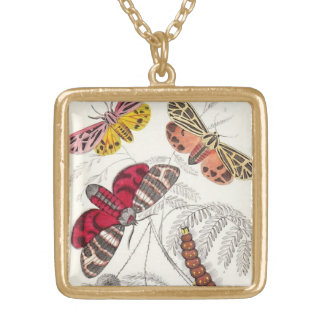 Exotic Moths Gold Plated Necklace