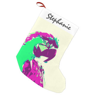 Exotic Neon Colorful Parrot Bird Small Christmas Stocking