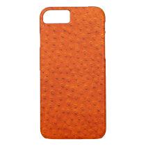 Exotic Orange Ostrich Leather iPhone 7 Case
