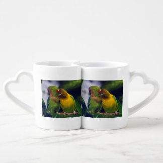exotic pair of birds with cuddle couples coffee mug