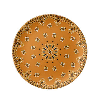 Exotic Paisley Western Bandana BBQ Scarf Print Porcelain Plate