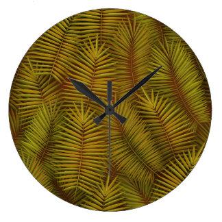 Exotic palm leaves jungle pattern large clock