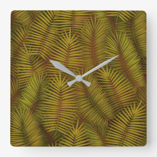 Exotic palm leaves jungle pattern square wall clock