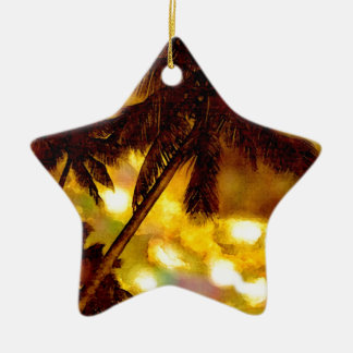 Exotic Palm Tree Ceramic Ornament
