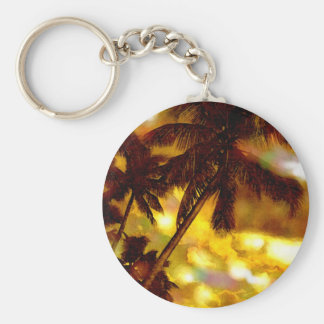 Exotic Palm Tree Basic Round Button Keychain