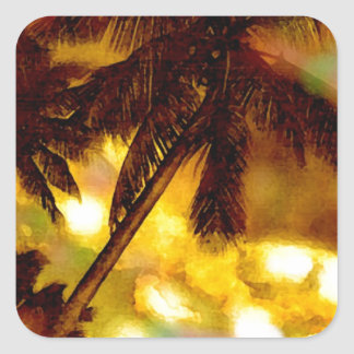 Exotic Palm Tree Square Sticker