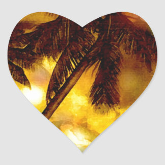 Exotic Palm Tree Heart Sticker