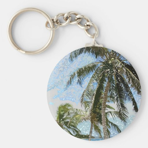 Exotic Palm Trees Basic Round Button Keychain
