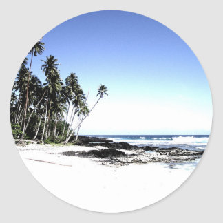 Exotic Palm Trees & Paradise Beach Classic Round Sticker